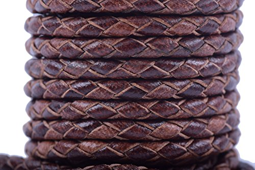 KONMAY Round Braided Genuine Bolo Leather Cord for Jewelry and Craft Designs (3.0mm, Vintage Brown)
