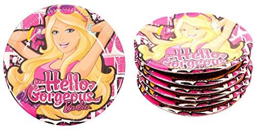 Barbie Juego de 36 platos de papel para fiesta de cumpleaños con texto en inglés 'Hello Girls'