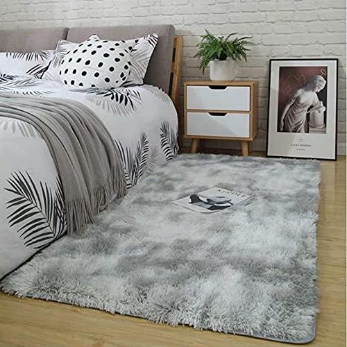 Teppich Grau Shaggy Teppich Area Rug Wohnzimmerteppich Meyecon Teppiche Bedroom Carpet Neu Hellgrau Schlafzimmer Teppiche Super weich Fluffy Kindermatte (grau, 80 x 160 cm)