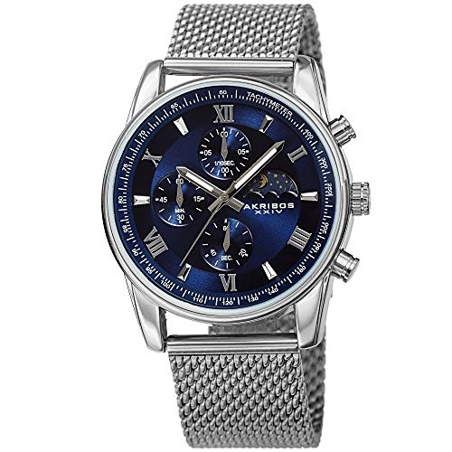 Akribos XXIV Men's Chronograph Watch - 3 Subdials with Moonphase AM/PM Indicator On Stainless Steel Mesh Bracelet - AK1112 (Blue Dial Silver Band)