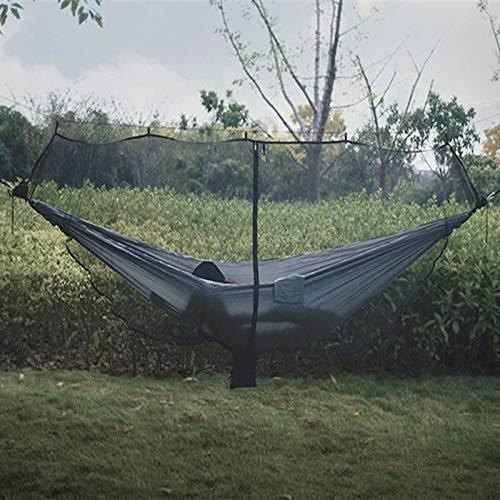 Portable Detachable Hammock with Mosquito Net, Outdoor Survival Nylon Camping Hammock, Light Weight Encryption Mesh Hammock Swing, 1-2 Person,Black