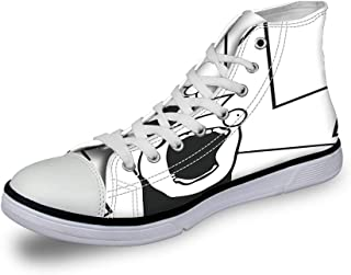 High Top Classic Casual Canvas Sneakers Lace ups Casual Walking Shoes,Happy Turtles with Hand Drawn Patterns of Polka Dots Chevron Zig Zags and Stripes - Womens