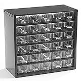 Bloc-tiroir à tiroirs translucides - h x l x p 282 x 306 x 155 mm, 30 tiroirs - corps noir profond - Armoire à bacs Armoire à...