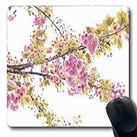 新鮮な白い花公園のマウスパッド花桜屋外デザイン長方形の形状7.9 X 9.5インチ長方形のゲーミングマウスパッド滑り止めラバーマット