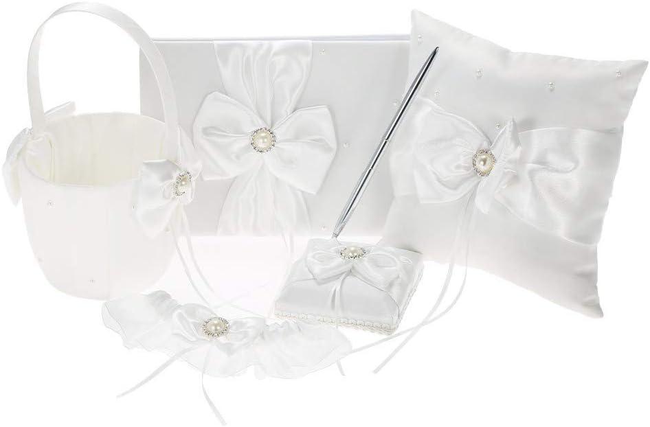5pcs Set White Wedding Bargain Ranking integrated 1st place Supplies Satin I 7 Girl + Flower Basket