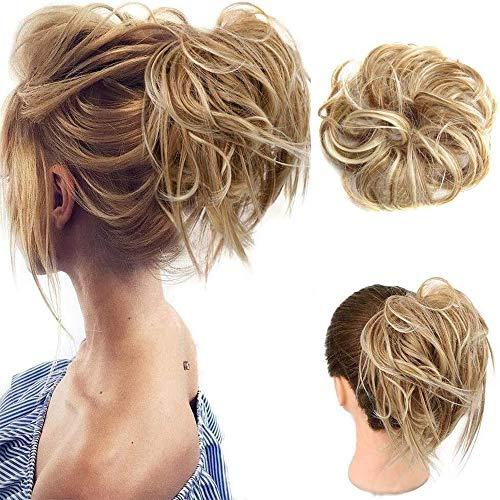 2 paquetes de moños rubios desordenados para mujeres Cabello sintético Moños para el cabello desordenado Donut Chignons postizos Extensiones de moños Updo (27T/613)