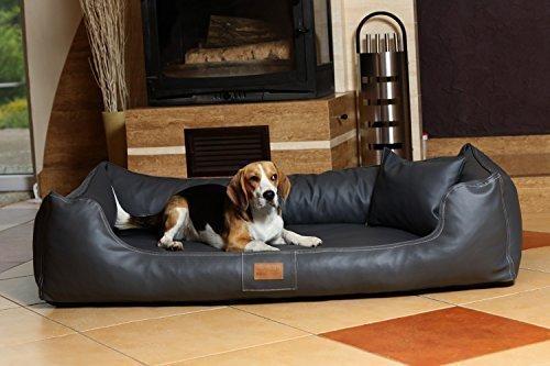 tierlando Lit orthopédique pour chien Maddox Ortho VISCO en similicuir Canapé pour Chien Panier pour chien gr. XXL 150 cm Graphite