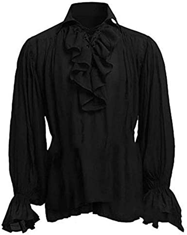 Camisa Renacentista para Hombre Tops de Manga Larga Traje Túnica Medieval Pirata Camisa Holgada
