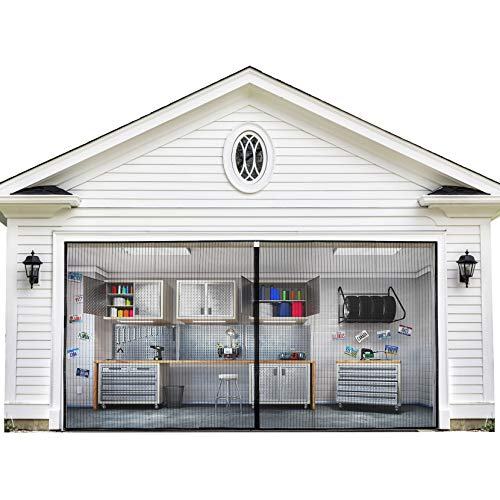 Magnetic Garage Door Screen 9x7FT for One Car Garage with Heavy Duty Mesh Curtain and Full Frame Hook&Loop Fits Garage Door Size up to 108