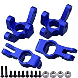 Hobbypark Aluminum Front/Rear Right Hub Assembly Steering Knuckles Blocks Stub Axle Carriers for 1/10 Redcat Blackout XTE XBE SC (Pro), Replace BS213-011 BS213-012 (Navy Blue)
