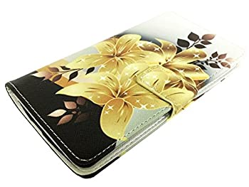 for ZTE Jasper LTE Wallet Card Phone Cover Case + Gift Stand  Wallet Gold Lily