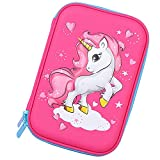 Unicorn Pencil Case for Girls Cute School Supplies Stationary Box Pen Bag for Kids (Hot Pink)