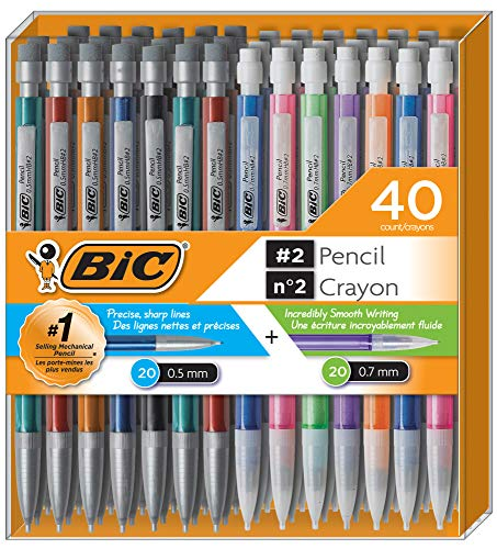 BIC Mechanical Pencil #2 EXTRA SMOOTH, Variety Bulk Pack Of 40 Mechanical Pencils, 20 0.5mm With 20 0.7mm Mechanical Led Pencils, Assorted Colored Barrels, for professional Office & School Use.