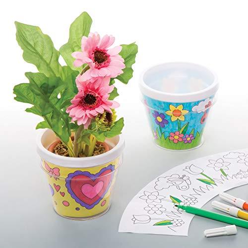Baker Ross Pots de fleurs à décorer -Lot de 2- Loisirs créatifs de Printemps pour enfants - version anglaise