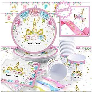 SAPU 132pcs Unicorn Themed Party Supplies Set - Serves 16, Unicorn Birthday Plates, Cups, Napkins, Banner, Straws and Tabl...
