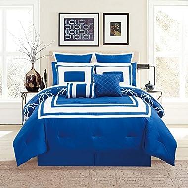 12 Piece Bernard Navy Comforter Set with Sheets Queen
