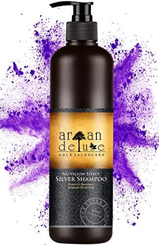 Argan Deluxe zilvershampoo in kapperskwaliteit 500 ml - effectieve hulp bij gele tint door NoYellow effect