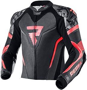 REBELHORN Rebel - Chaqueta de piel para moto, color negro y rojo