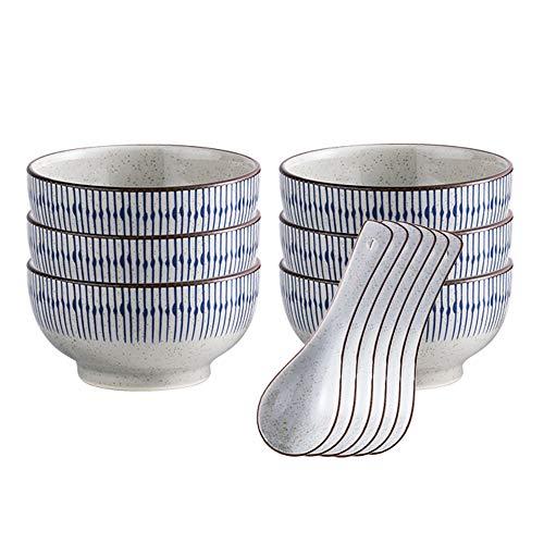 AWYGHJ Juego de Cuencos de arroz japoneses de 6 Cuencos de cerámica Pintados a Mano de Estilo japonés de 9 oz con Cuchara, Apto para lavavajillas y microondas, para Postre, refrigerio, Cereales, Sopa