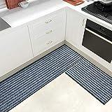 Color&Geometry 2-teiliges Läufer rutschfestes Küchenmatten-Set, Barrier Teppiche mit Gummirücken, saugfähig, waschbarer Teppich für Flur, Küche, Eingang (44x 75 cm + 44x 200 cm, grau)