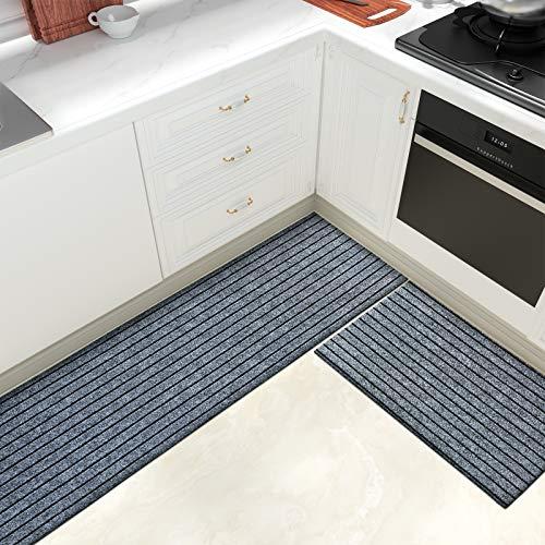 Color & Geometry Juego de Alfombrillas de Cocina Antideslizantes de 2 Piezas, alfombras de Barrera con Respaldo de Goma, Alfombra Absorbente y Lavable para Cocina (44x75cm + 44x200cm, Gris)