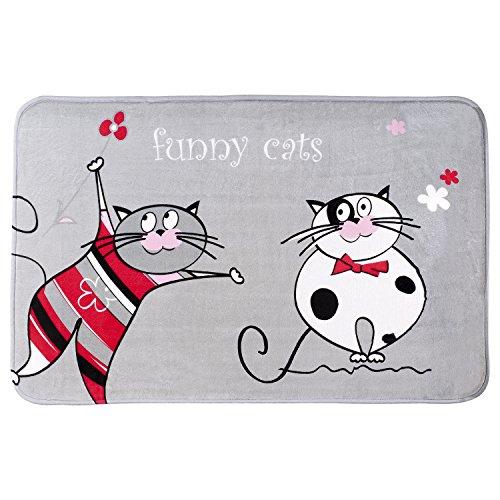 Tatkraft Funny Cats Tappeto da Bagno Ultra Morbido 60x 90cm, in Microfibra Antiscivolo in Microfibra