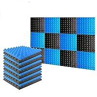 新しい12ピース 500 x 500 x 50 mm ピラミッド 吸音材 防音 吸音材質ポリウレタン SD1034 (黒と青)