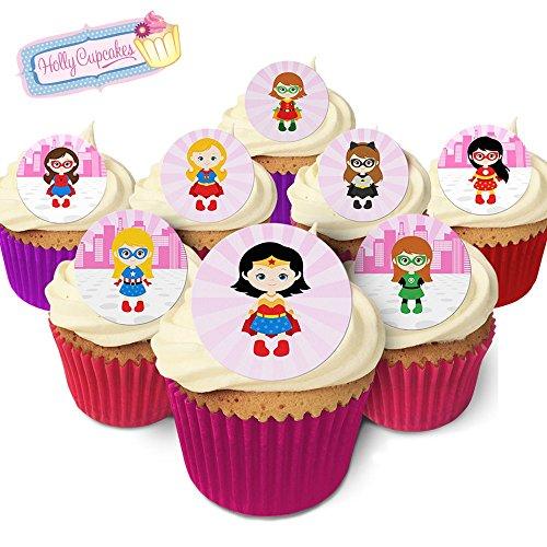 24 Wunderschöne essbare Kuchendekorationen: Superhelden Mädchen / 24 Superhero Girl Decorations