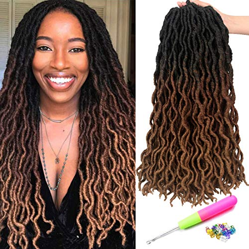 18 Inch Goddess Faux locs Crochet Hair 6 Packs/Lot Soft Gypsy Loc Wavy Crochet Braids Dreadlocks 3 Tone Ombre Curly Wavy Twist Braiding Hair Extensions 24 Strands/Pack African Roots Braid(#1B/30/27)