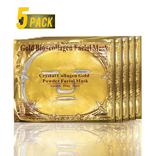 5 Stück 24K Gold Bio-Kollagen-Gesichtsmasken, Gold-Gel-Kollagen-Gesichtsmasken für Anti-Aging, Feuchtigkeitscreme, Anti-Falten, Tiefenverjüngung und Feuchtigkeitsspendende Haut