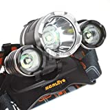 TOPHAVEN Rechargeable Headlamp, Bright Waterproof LED Headlight Flashlight Torch with 3×T6 Lampwick