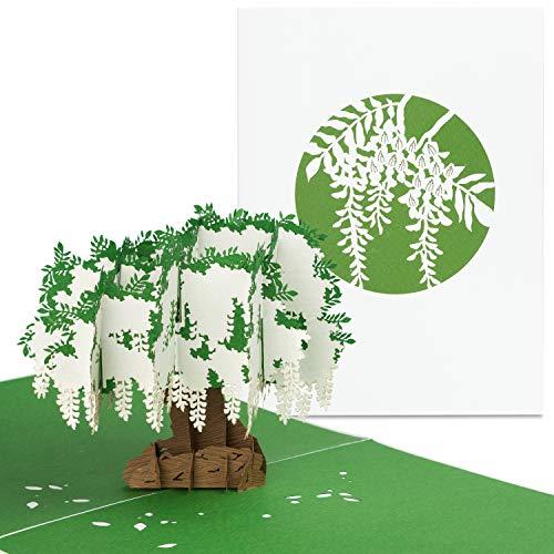 """PaperCrush® Pop-Up Karte Natur """"Wisteria"""" - Handgemachte 3D-Karte für verschiedene Anlässe (Geburtstagskarte, Trauerkarte) - Besondere Popup Karte mit Baum Motiv inkl. Umschlag"""