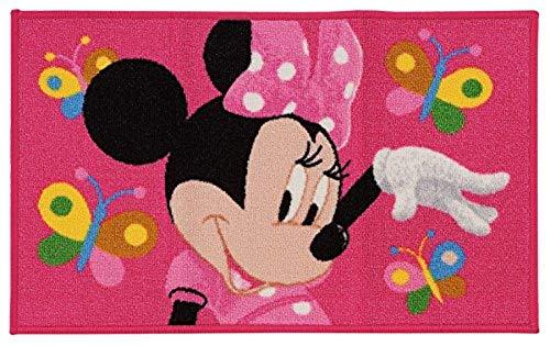 Kinder Teppich Kinderteppich Minnie Mouse / Butterfly / Teppich / Kinderspielteppich / Wandteppich Minnie Maus / rosa / ca 80 x 50 cm