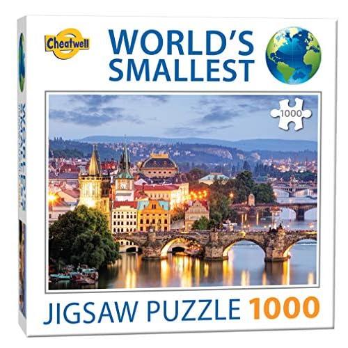 Cheatwell Games- Prague Bridges Jigsaw Puzzle da 1000 Pezzi più Piccoli del Mondo Praga, Colore Vario, 13992