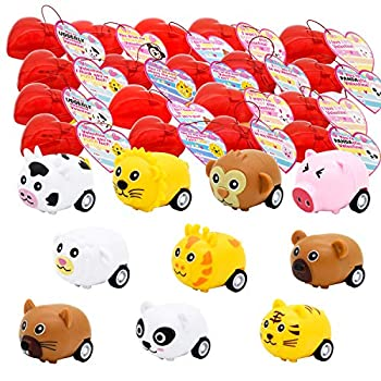 JOYIN 30 Valentines Day Pre Filled Hearts with Valentine Cards Filled with Cute Animal Pullback Cars for Kids Valentine Classroom Exchange Valentine Party Favors Gift Exchange Game Prizes