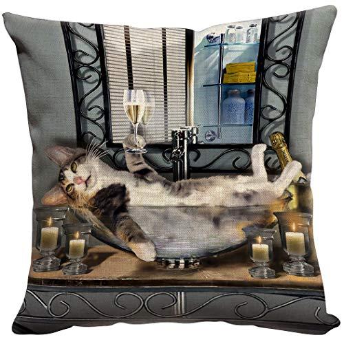 Violetpos - Funda de cojín para sofá, diseño de gato, lino, gris, 40 x 40 cm