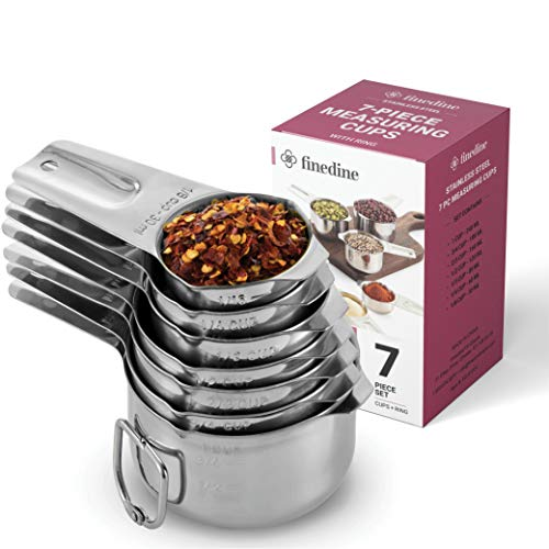 7-Piece Stainless Steel Measuring Cups - Made of 1 Solid Piece Stainless Steel, Engraved Measurements - Dual Pour Spouts - Nesting Measuring Cup Set for Dry, Liquid Ingredients, Cooking & Baking