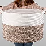 INDRESSME XXXLarge Cotton Rope Basket 21.7' x 21.7' x 13.8' Woven Baby Laundry Blanket Basket Toy Basket with Handle Storage Comforter Cushions Thread Laundry Hamper
