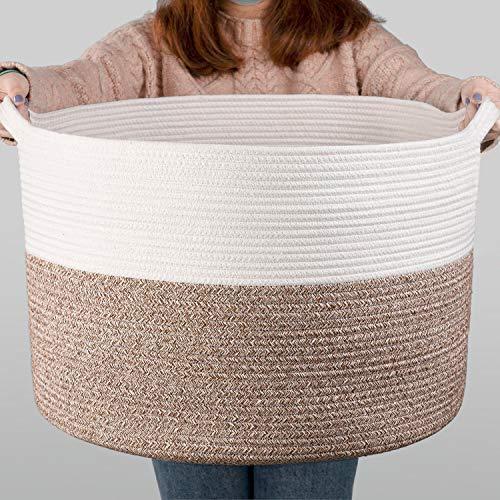 INDRESSME XXL Groß Wäschekorb aus Baumwolll für Decken im Wohnzimmer Korb zur Aufbewahrung im Kinderzimmer - Weiß und Braun, 55 x 35 cm (D x H)