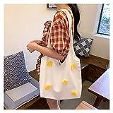 bolsa de lona Bolsa de hombro de la lona de las mujeres Margaritas brillantes de algodón bolso de tela femenino Totes casuales Bolsos de compras de gran capacidad para niñas (Color : White)