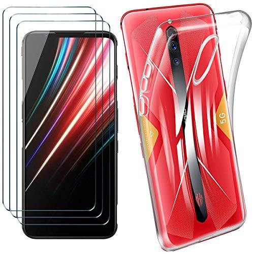 HYMY Hülle für Nubia Red Magic 5G + 3 x Schutzfolie Panzerglas - Transparent Schutzhülle TPU Handytasche Tasche Durchsichtig Klar Silikon Hülle für Nubia Red Magic 5G (6.65