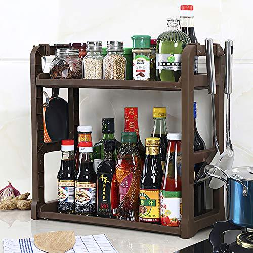 Qisiewell Portaspezie Pratico portaspezie per Armadio da Cucina e Superficie di Lavoro da ordinare in Cucina Allungabile in plastica PP su 2 Livelli Marrone