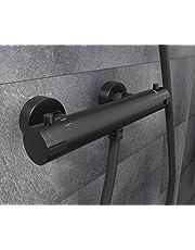 SCHÜTTE 52466 London thermostaatkraan met bescherming tegen verbranding bij 38 °C, douchethermostaat/mengkraan, kraan voor de douche, mat zwart