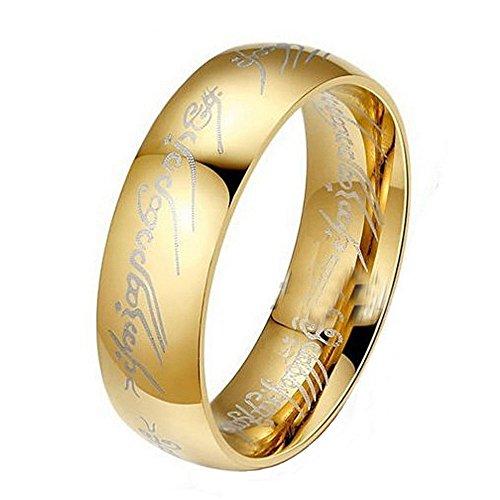 Bague en acier au titane pour hommes, anneau d'or en acier inoxydable du seigneur des anneaux Hobbit