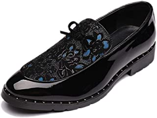 XinQuan Wang Fashion Oxfords for Men Embroidery Loafers Slip on PU & Patent Leather Patchwork Rubber Sole Pointed Toe Bowknot Decor Non-Slip (Color : Blue, Size : 6 UK)