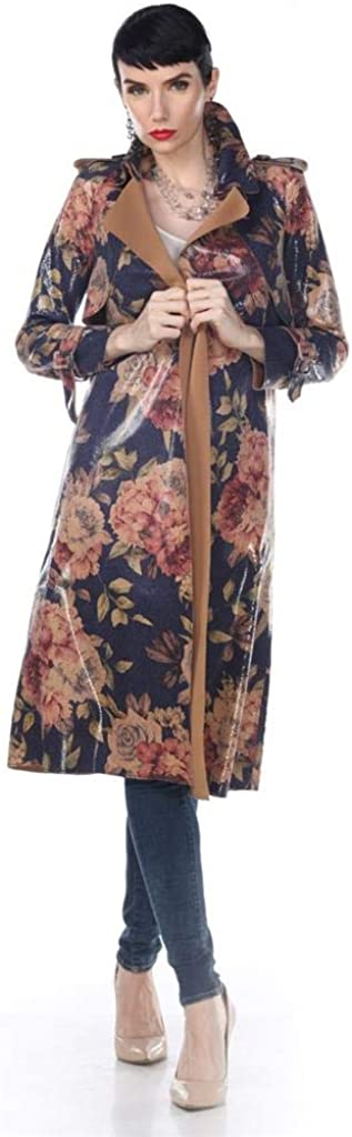 Aris A. Women's PU Leather Vintage Rose Print Slim Fit Long Trench Coat