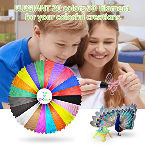ELEGIANT 20 Stück Ink Filament PLA Filament 3D Stift Filament 1.75MM 10M 3D Print Filament 3D Printing Pen Supplies PLA Material 20 Farben Set für 3D Drucker Stift 3D Pen Kinder - 6