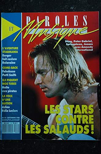 Paroles & Musique n° 10 * 1988 09 * BERGER BALAVOINE Patti SMITH STING Peter GABRIEL JONASZ SPRINGTEEN