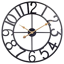 BEW 24-Inch Large Wall Clock, Vintage Industrial Decorative Arabic Numbers Metal Wall Clock, Silent Battery Operated Round Thicker Hanging Clock for Indoor, Living Room, Bedroom, Farmhouse