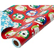 American Greetings Christmas Wrapping Paper Reversible Jumbo Roll, Santa and Snowflakes (1 Pack, 175 sq. ft.), 4-Roll (6148832)